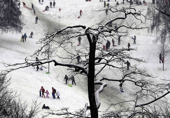 people braving greenwich park in the snow (image: reinhard krause/reuters, courtesy the guardian)