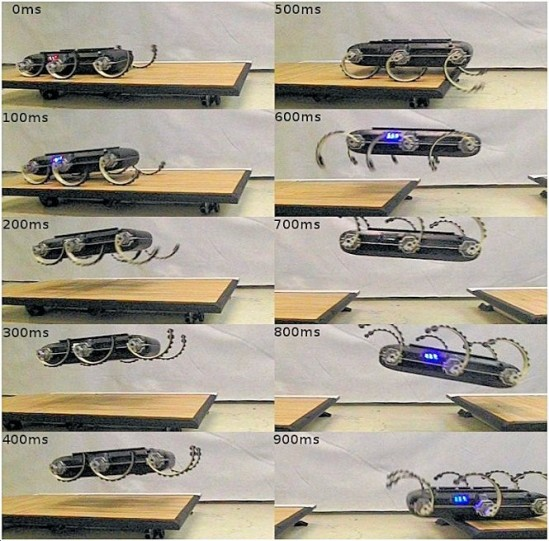The UPenn XRL robot takes a running start to leap over a 60 cm (24 in) gap (Photo: UPenn; courtesy gizmag)